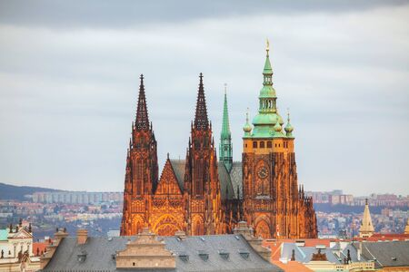 vitus: Overview of Prague with St Vitus Cathedral at sunset