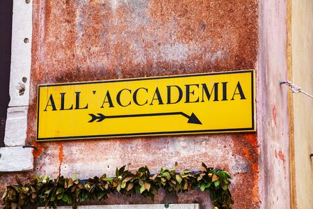 direction sign: All Accademia direction sign in Venice, Italy