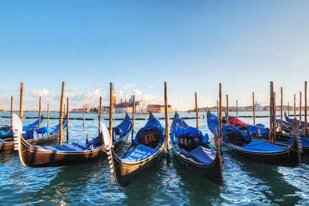 venice: Gondolas floating in the Grand Canal, Venice, Italy