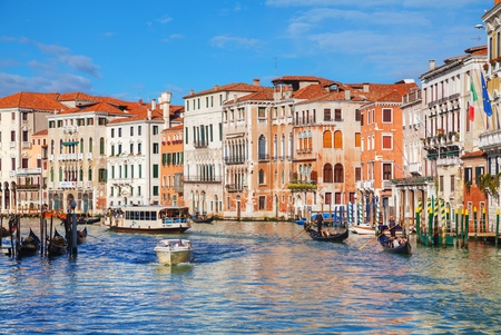 corridors: VENICE - NOVEMBER 22: Overview of Grand Canal on November 22, 2015 in Venice, Italy. It forms one of the major water-traffic corridors in the city.
