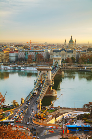 the chain bridge: Overview of Budapest with the Szechenyi Chain Bridge in Budapest at sunset