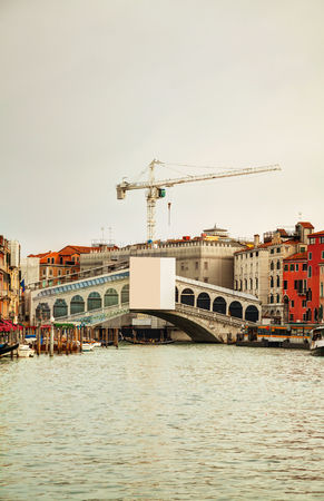 Overview of Grand Canal in Venice, Italy on an overcast day