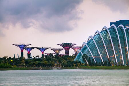 Singapore overview with Gardens by the Bay at the sunset time
