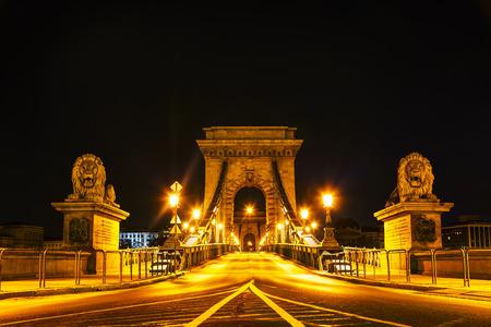szechenyi: The Szechenyi Chain Bridge in Budapest, Hungary at night