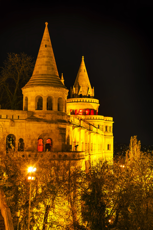 neogothic: Fisherman bastion in Budapest, Hungary at night