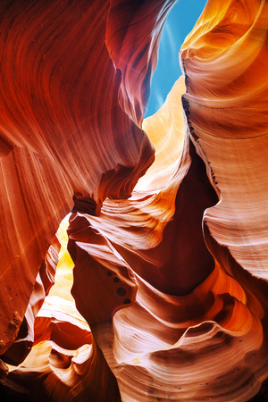lower antelope: Lower Antelope Canyon view near Page, Arizona at noon Stock Photo