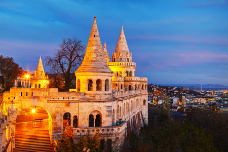 bastion: Fisherman bastion in Budapest, Hungary at sunrise
