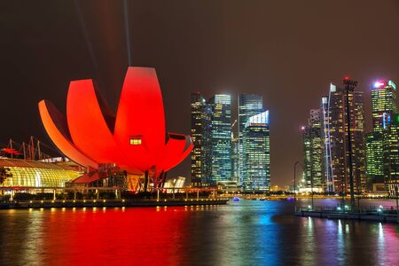 financial district: Singapore financial district at the night time