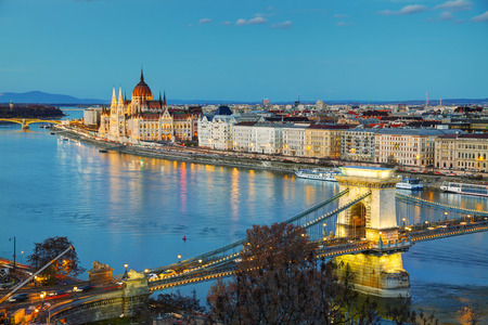 chain bridge: Overview of Budapest with the Szechenyi Chain Bridge at sunset