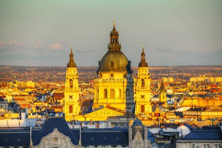 stephen: St Stephen (St Istvan) Basilica in Budapest in the evening Stock Photo
