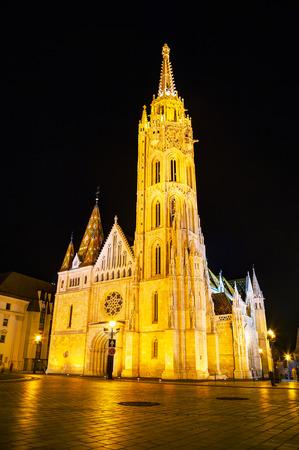 matthias church: St Matthias church in Budapest at night