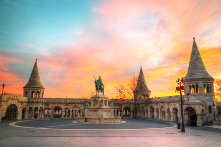 bastion: Fisherman bastion in Budapest, Hungary at sunrise