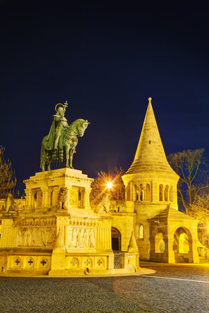 fisherman bastion: Fisherman bastion with St Istvan monument in Budapest, Hungary at night