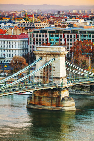 szechenyi: Szechenyi Chain Bridge in Budapest, Hungary at sunrise