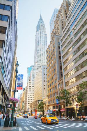 NEW YORK CITY - SEPTEMBER 5: New York street with the Chrysler building on September 5, 2015 in New York City.