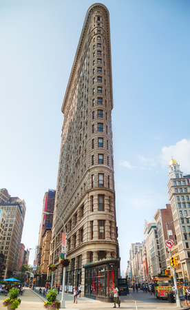 broadway tower: NEW YORK CITY - September 4: Flatiron Building on September 4, 2015 in New York. Its located at 175 Fifth Avenue in the borough of Manhattan and is considered to be a groundbreaking skyscraper.