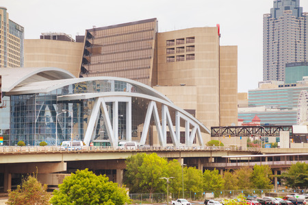 philips: ATLANTA - AUGUST 29: Philips Arena and CNN Center on August 29, 2015 in Atlanta, GA. Philips Arena is a multi-purpose indoor arena. It was completed and opened in 1999 to replace The Omni. Editorial