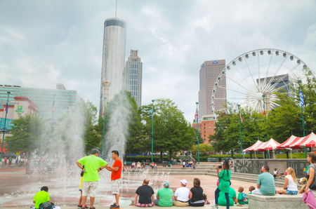 ga: ATLANTA - AUGUST 29: Centennial Olympic park with people on August 29, 2015 in Atlanta, GA.