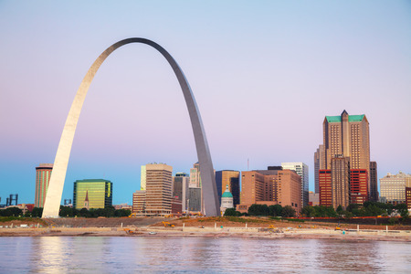 st  louis arch: Downtown St Louis, MO with the Old Courthouse and the Gateway Arch at sunrise