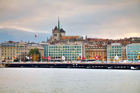 pierre: GENEVA, SWITZERLAND - NOVEMBER 27: Geneva cityscape overview with St Pierre Cathedral on November 27, 2015 in Geneva, Switzerland.