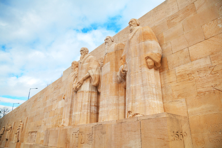 GENEVA, SWITZERLAND - NOVEMBER 28: The International Monument to the Reformation (Reformation wall) with the statues of Farel, Calvin, Beza and Knox on November 28, 2015 in Geneva, Switzerland.