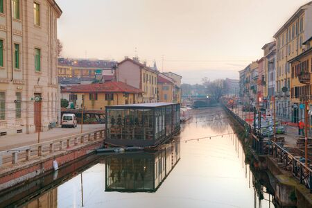 The Naviglio Grande canal in Milan, Italy at sunrise