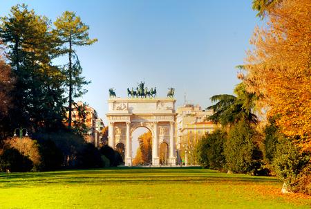 Arch of Peace (Arco della Pace), Milánó, Olaszország Stock fotó