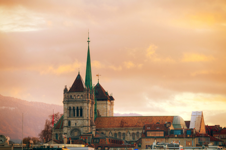 Geneva cityscape overview with St Pierre Cathedral in Geneva, Switzerland.