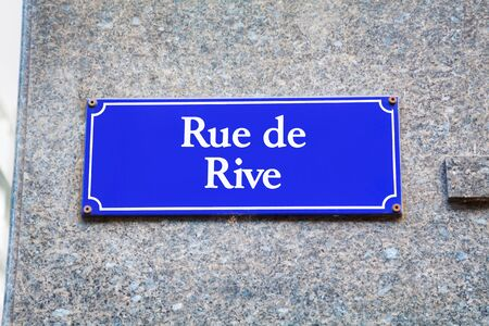 Rue de Rive street sign in Geneva, Switzerland Stock Photo