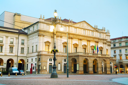 La Scaka opera house building in Milan, Italy early in the morning