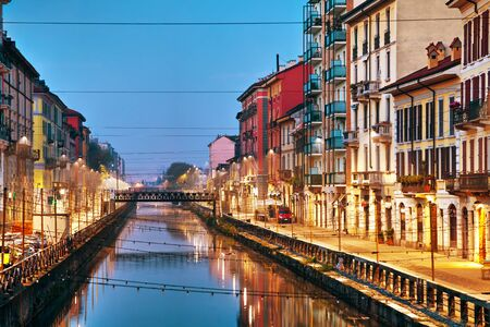 waterway: The Naviglio Grande canal in Milan, Italy at sunrise