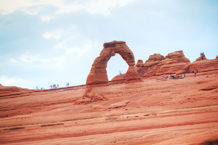 moab: MOAB, UT, USA - AUGUST 22: Delicate Arch at the Arches National park on August 22, 2015 near Moab, UT, USA.