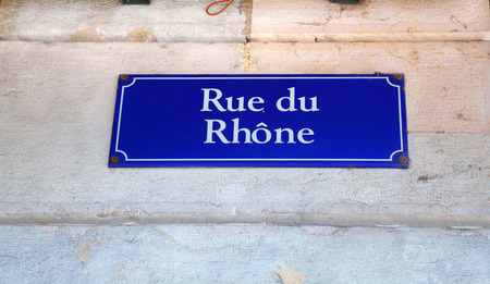 Rue du Rhone street sign in Geneva, Switzerland Stock Photo