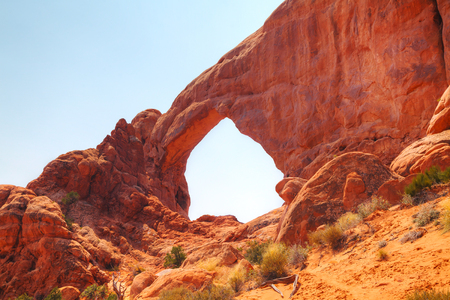 north window arch: The North Window Arch at the Arches National Park in Utah, USA