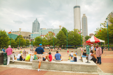 centennial: ATLANTA - AUGUST 29: Centennial Olympic park with people on August 29, 2015 in Atlanta, GA.