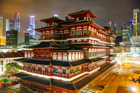 relic: Buddha Tooth Relic temple in Singapore at night