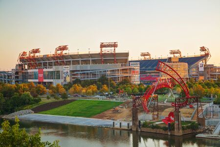 titans: NASHVILLE - AUGUST 27: LP Field early in the morning in Nashville on August 27, 2015. The stadium is the home field of the NFLs Tennessee Titans and the Tennessee State University Tigers.