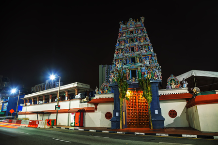 mariamman: Sri Mariamman Temple at night in Singapore