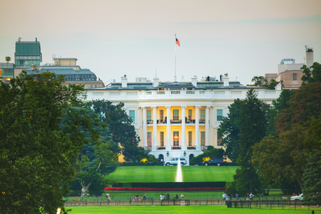 presidency: The White House building in Washington, DC in the evening