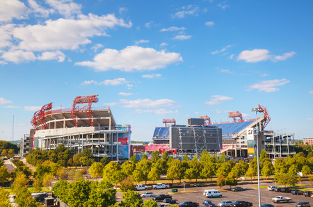 titans: NASHVILLE - AUGUST 28: LP Field on August 28, 2015 in Nashville, TN. The stadium is the home field of the NFLs Tennessee Titans and the Tennessee State University Tigers.