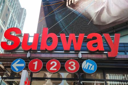 NEW YORK CITY - SEPTEMBER 4: Subway station sign on September 4, 2015 in New York City, NY.