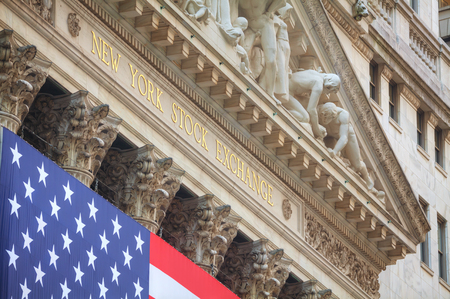 NEW YORK CITY - September 3: New York Stock Exchange building on September 3, 2015 in New York. The NYSE trading floor is located at 11 Wall Street and is composed of 4 rooms used for facilitation of trading.