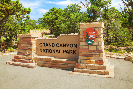 Entrance to the Grand Canyon National Park in Arizona Editorial