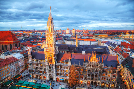 MUNICH - NOVEMBER 30: Aerial view of Marienplatz on November 30, 2015 in Munich. Its the 3rd largest city in Germany, after Berlin and Hamburg, with a population of around 1.5 million.