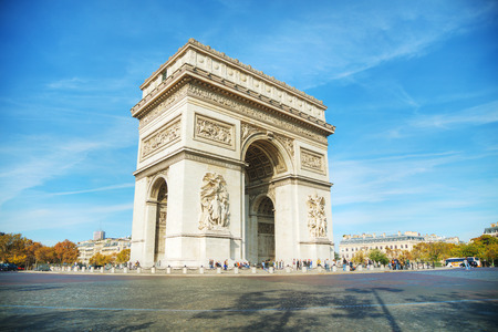 PARIS - NOVEMBER 1: The Arc de Triomphe de lEtoile on November 1, 2016 in Paris, France. Its one of the most famous monuments in Paris and stands in the centre of the Place Charles de Gaulle.