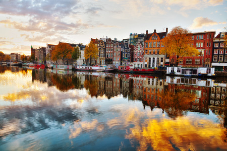 amstel: Amsterdam city view with Amstel river at surise Stock Photo