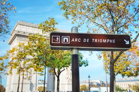 The Arc de Triomphe de lEtoile sign in Paris, France