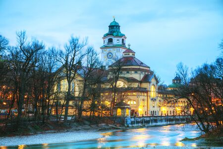 The Volksbad with the Clocktower in Munich, Germany at sunrise Banco de Imagens