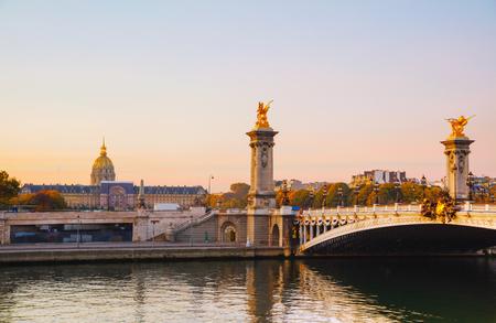 iii: Pont Alexandre III (Alexander III bridge) in Paris, France at sunrise Stock Photo