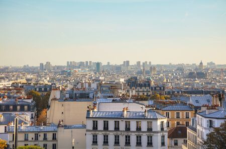 Aerial overview of Paris as seen from Monmartre Butte Stock Photo